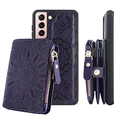 Harryshell [8 Kartenfächer] mit [Block-Diebstahlkarten-Scannen] Funktion, abnehmbare magnetische Reißverschlusstasche für Samsung Galaxy S21+ Plus 5G 17 cm (6,7 Zoll) (2021) (Blumen-Violett)