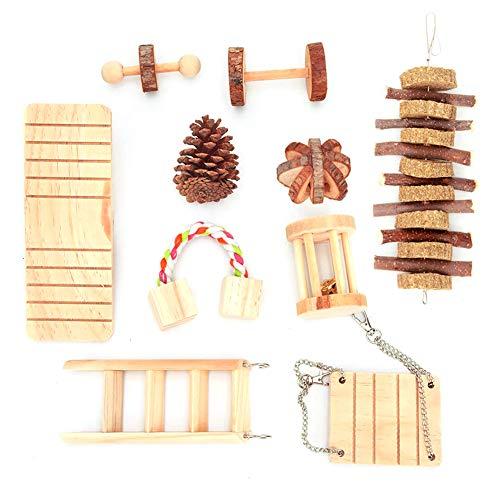 10pcs Hámster Juguetes para Masticar Madera Juguetes para Mascotas Dientes Cuidado Molar Toy Kit para Hamster Conejito Bird