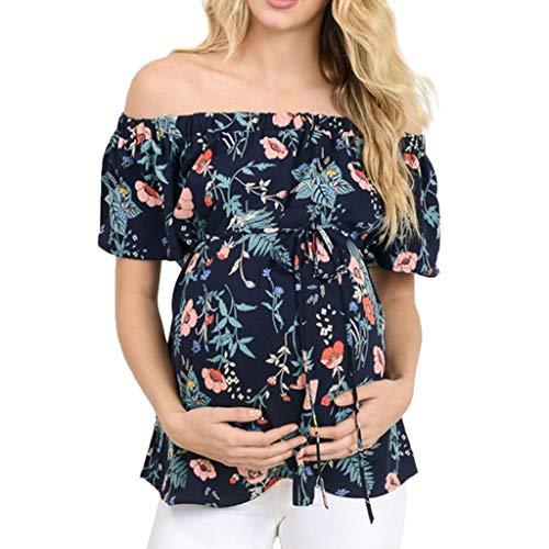 Mitlfuny Ropa premamá Mujeres Florales Estampado Camiseta de Maternidad Verano Cuello Redondo Manga Corta Hombro Abierto Blusa Suelto Tops de Embarazo Lactancia Embarazadas Camisa