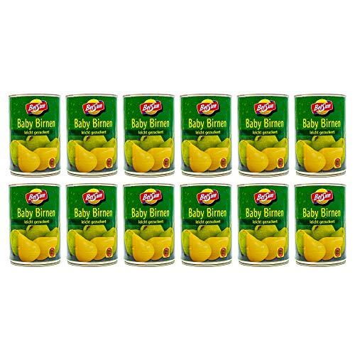 Food-United Ganze Baby Birnen leicht gezuckert 12 Dosen Füllmenge 425g ATG 200g geschält in Spanien sonnenverwöhnt zart und bissfest volles Aroma Top Qualität Sommerfrüchte (12 Dosen)
