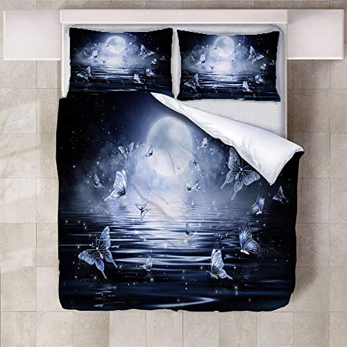IXGMI Sea Full Moon Butterfly Bedding, Duvet Cover Set Single 3pcs with Zipper Closure, Ultra Soft Microfiber 3D Digital Print Quilt Cover Set 135x220cm