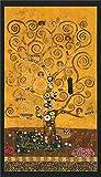 Robert Kaufman Brauner und Goldener Stoff mit Baum