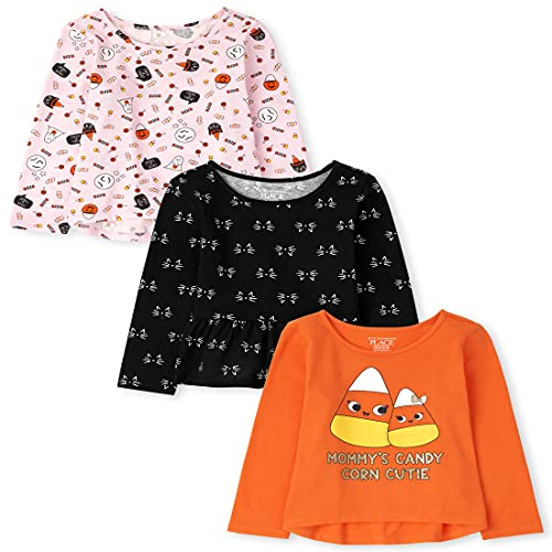 The Children's Place Baby and Toddler Girl Long Sleeve Halloween Tops 3-Pack, Squashorg, 18-24 Months