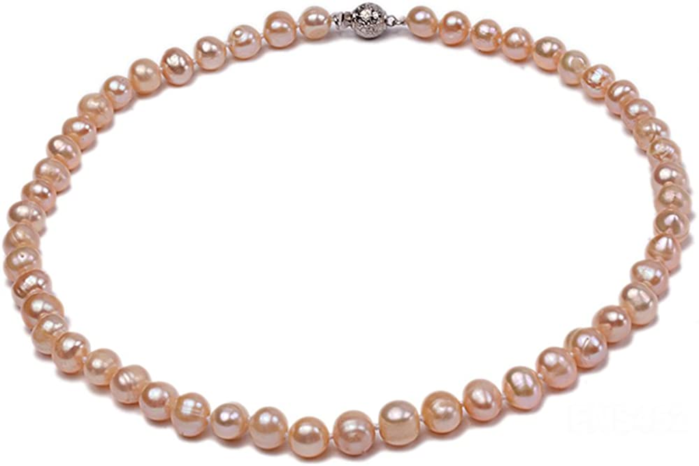 JYX 7-8mm Oval Natural White/Pink Freshwater Cultured Pearl Necklace 17