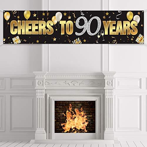 Banner Cumpleaños 90, Decoraciones Feliz 90 Cumpleaños con Cheers to 90 Years, Telón de Fondo de Signo de Cumpleaños Brillante de Oro Negro Suministros para Cumpleaños 90 Años