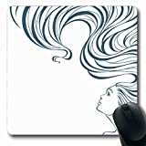 Ahawoso Mousepads for Computers Line Back Realistic Girl Care Coiffure Elegance Eye Design Oblong Shape 7.9 x 9.5 Inches...