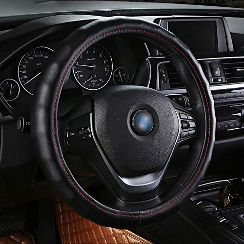 Housse De Volant De Voiture Cuir D'été Diamètre 38Cm Enjoliveur De Roue Respirant Confortable Four Seasons Universal,Black