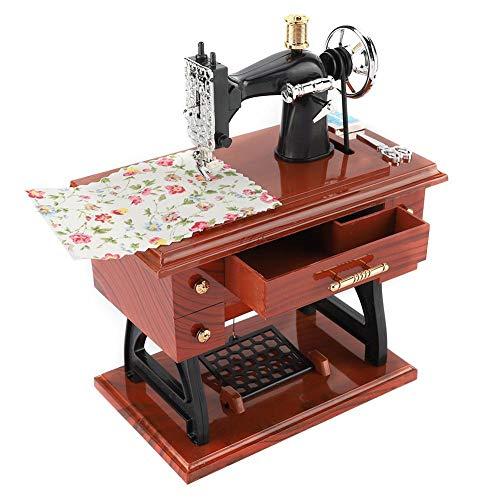Fditt Caja de música Vintage Mini máquina de Coser Estilo Caja de música mecánica Musical Retro Decoración de Escritorio clásica Regalo para cumpleaños San Valentín Boda de Navidad
