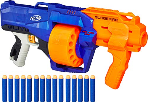 Nerf SurgeFire Elite Blaster, 15-Dart Rotating Drum, Slam Fire, Includes 15 Official Nerf Elite Darts, For Kids Ages 8 and up