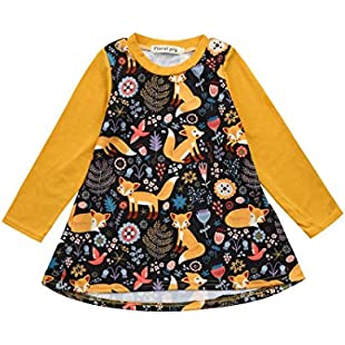 Webla Toddler Kids Baby Girls Cartoon Fox Print Casual Daily Dress Clothes For 1-4 Years Old (2-3T)