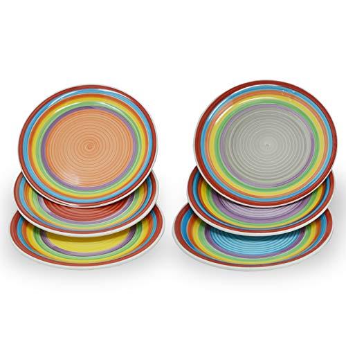 DRULINE 6-TLG. Speiseteller Set Ibiza runde Essteller Menü-Teller flach Servier-Tablett Steingut-Geschirr Buffet-Platte Ø 27 cm | Handbemalt | Mehrfarbig