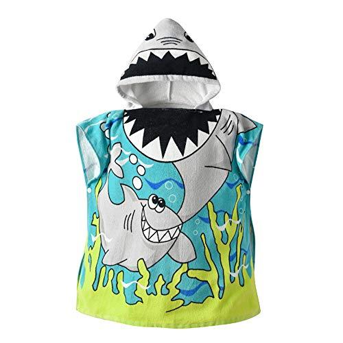 Patrón de dibujos animados de toalla de playa con capucha para niños, vestido de playa para niños Poncho con capucha Albornoz Toalla de baño deportiva de algodón Baño Capa de toalla de baño Pijama