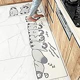 OH Alfombra de Cuero de Cocina Set 2 Piezas Mats Runner Antideslizante Suave Alfombra de Aceite Y Resistente Al Desgaste Estera Del Piso Lavable con Animal Impreso Protección del medio ambient