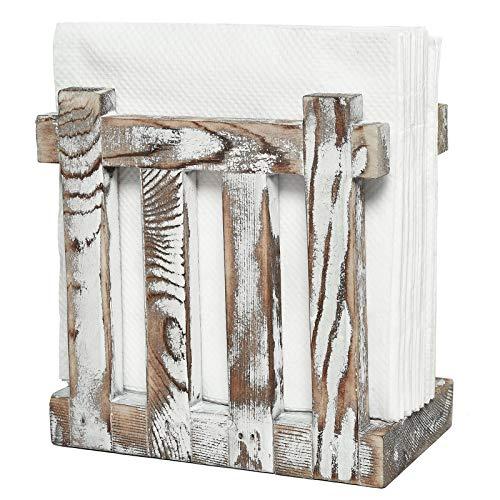 COYMOS Rustic Napkin Holder Wood Napkin Holders for Kitchen Upright Paper Napkin Storage Dispenser for Table, Restaurants, Gifts, Nature Vintage Farmhouse Decor (5.5'' x 5.5'')