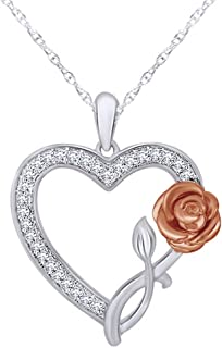 Wishrocks Diamond Accent Twisting Circle Frame Flower Pendant in 14K Gold Over Sterling Silver