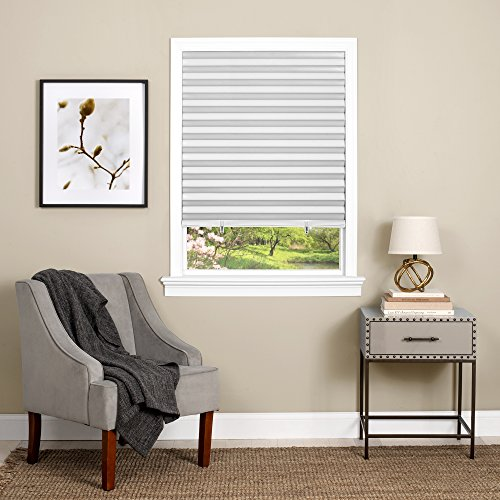 "Achim Home Furnishings 123CO36W24 Cordless 1 2 3 shade Vinyl Room Darkening Pleated Window Shade, 36"" x 75"", White"
