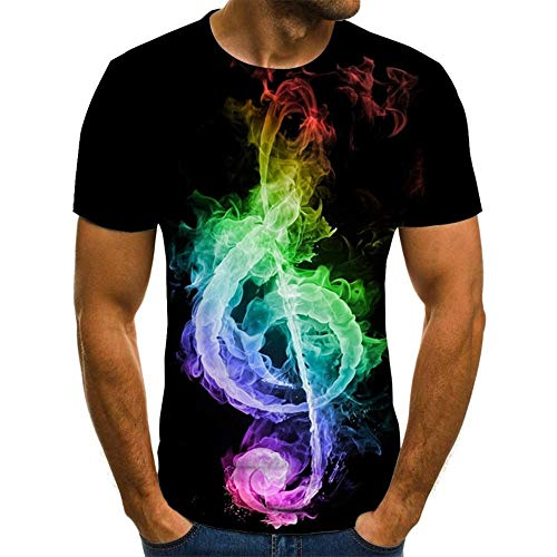 GHRFZC 3D T-Shirt,Männer T-Shirt 3D-Gedruckten Muster Quick Dry and Sommer T-Shirts Neuheit Farbigen Cartoon Musik Symbole Short Sleeve T-Shirt, L