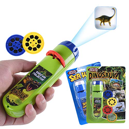 Wenosda Slide Projector Torch Projection Light Small Torches lamp Flashlight Educational Learning Bedtime Night Light for Child,Kids,Infant,Toddler,Children (64 Images,2set, Dinosaur +Sea World)