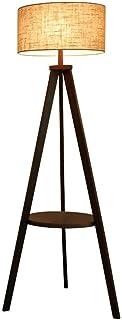 WECDS Lampadaire Lampadaire en Bois Massif avec Abat-Jour en Tissu Châssis Triangulaire pour Salons contemporains Salle d'...