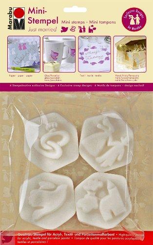 Marabu 027100003 – Lot de 4 Mini tampons Just Married