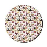 Schokoladen-Mauspad für Computer, Eistüte Sterne Makronen Waffel-Illustration, rundes rutschfestes dickes Gummi-modernes Gaming-Mauspad, 8 'rund, mehrfarbig