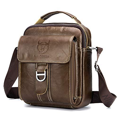 BAGZY Vintage Herren Sling Bag echtes Leder Männer Schultertasche Umhängetasche Handtasche Brusttasche Rucksack Cross Body Messenger Business Kaffee