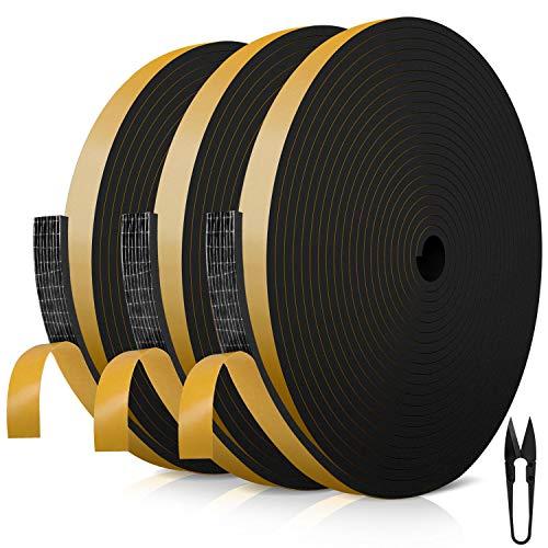 Dichtungsband für Türen 12mm(B) x 3mm(D) selbstklebendes Schaumstoffband Türdichtung Fenste, Gummidichtung für Kollision Siegel Schalldämmung Gesamtlänge 18m (3 Rollen je 6m lang) schwarz