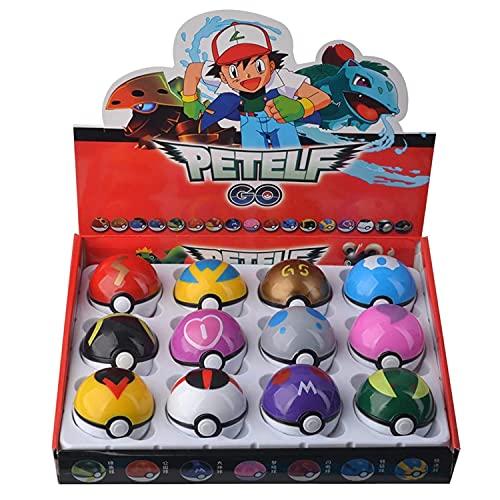 12 Pcs/Set Pikachu Pokeball, Pokeball Realistic, Poke Bolas, Pikachu Clip N Carry, Pikachu and Pokeball Figures and Balls Throw, Empty Pokeball, Collection Pocket Monster