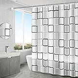 Anti-Schimmel Wasserdichter Duschvorhang, 180x200cm Waschbar Anti-Bakteriell Stoff Polyester Badewanne Vorhang mit 12 Duschvorhängeringen, Transparent Duschvorhang(Weiß)
