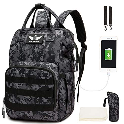 Diaper Bag Backpack with USB Charging Port Stroller Straps and Insulated Pocket , Tactical Advantage Travel Baby Bag Nappy Backpack for Dad/Boy/Mom/Girl/Toddler, Black Camo by Qwreoia