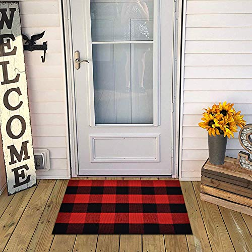 Area Rug Classic Plaid Runner Rugs Hand Woven Stain Resistant Collection Area Rug Indoor Outdoor Floor Mat for Kitchen Entryway Bathroom Laundry Living Room Carpet (Red and Black, 23.6 × 35.4 Inches)