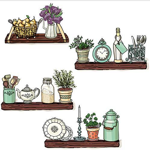 Adesivi murali Teiera Sveglia Bottiglia Beni quotidiani Bagno Cucina Decorazioni per la camera Smontabile Decalcomania vinilica Murale Autoadesivo 93 * 80cm