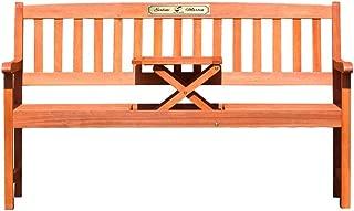 Casa Vivente Gartenbank mit Tisch – Goldene Plakette – Personalisiert mit Namen und Datum – Sitzbank aus Eukalyptus-Holz – Geschenkidee zur Hochzeit – Hochzeitsgeschenk für Brautpaar