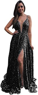 Jonlyc 2019 Spaghetti Straps A Line Long Prom Dress Sequins Formal Evening Gowns with Slit