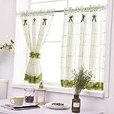 Yujiao Mao - 1 visillo de hilo de lino, cortina para ventana de estilo rural, para cocina, con pliegues