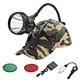 GearOZ Coon Hunting Lights Headlamp for Coyotes Hog Predators, 3 Lighting Modes, Red Green Filters, Rechargeable and Waterproof Hunting Headlight with Camo Hunting Bracket Hat