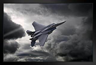 F15 Eagle Tactical Fighter Aircraft Flying Through Storm Photo Black Wood Framed Art Poster 20x14