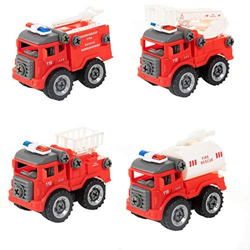 WFF Spielzeug Kid Engineering Fahrzeuge Set, abnehmbare Baufahrzeug/Löschfahrzeug-Spielzeug zur Verbesserung der Kinder praktische Fähigkeit, for 2-8 Jahre Alten Jungen Montag Spielzeug
