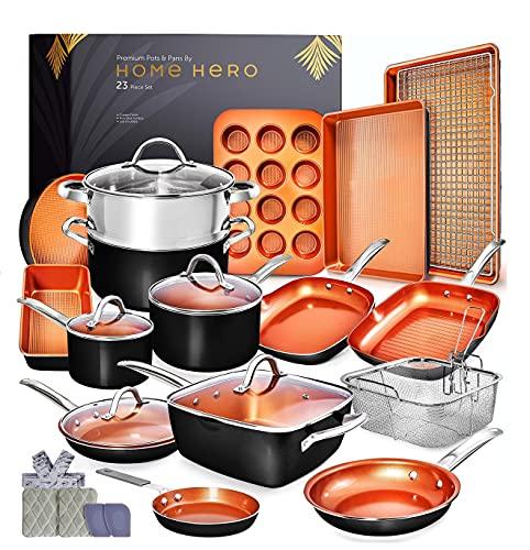 Home Hero Copper Pots and Pans Set -23pc Copper Cookware Set Copper...