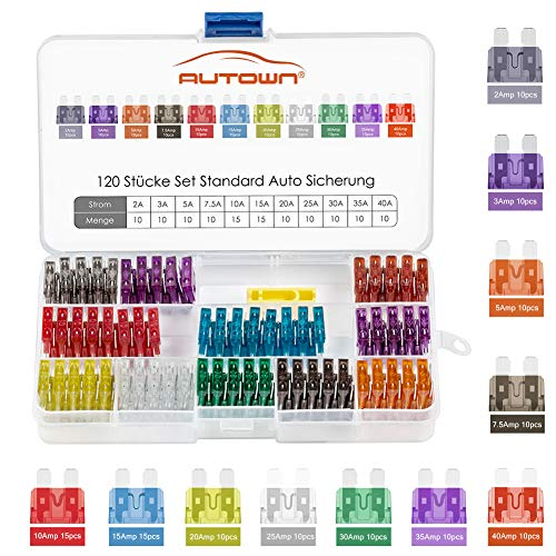 Autosicherungen Set 120 Pcs, KFZ Sicherungen Set 2A-40A, Sicherung Auto, Flachsicherung 19mm AUTOWN