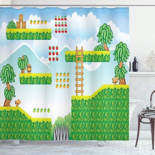 ABAKUHAUS zuilengang Douchegordijn, Exotic Tile Game Platform, stoffen badkamerdecoratieset met haakjes, 175 x 200 cm, Sky Blue Lime Green