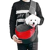 Bolso Perro Pequeño, Dog Carrier Sling Bag con Bandolera Ajustable Transportín Perro para Mascotas Perros y Gatos hasta 5 kg (Rojo)