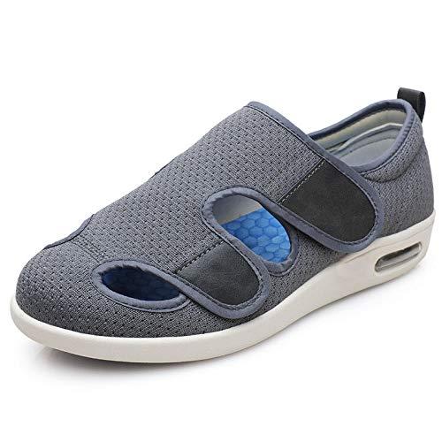 B/H Herren Diabetiker Hausschuhe,Verstellbare rutschfeste Schuhe nach der Operation, die Düngemittel hinzufügen, um ältere Sandalen zu verbreitern - grau_45,Hausschuhe Klettschuhe Senioren
