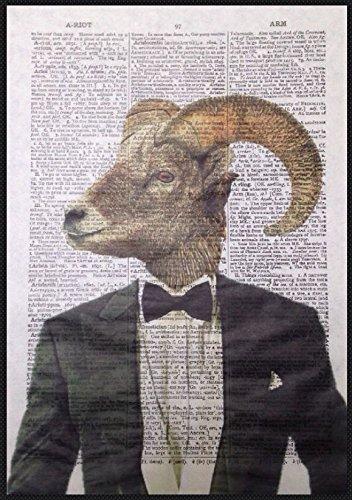 Parksmoonprints Décoration murale vintage Motif tête de mouton