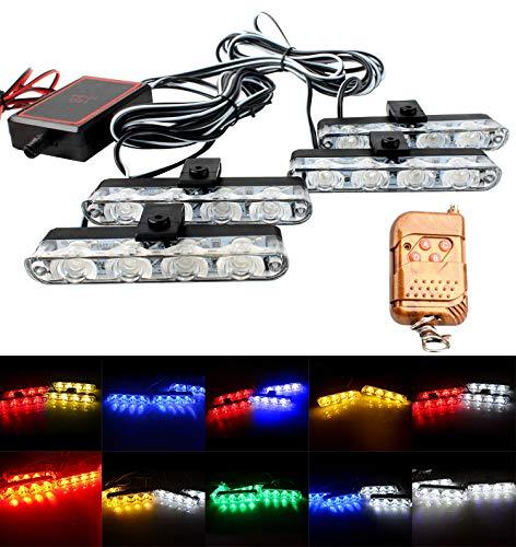 AIHOUSE Luces De Flash Estroboscópica del Coche LED, 4 En 1 Advertencia DE PELIGROS DE Advertencia DE Emergencia DE Emergencia Modos IP68 Impermeable con La Caja De Control Principal,Rojo