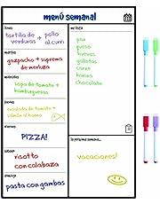 Smart Panda Calendario Magnético para Nevera - Ideal Planificador de Menú, Recordatorio, Lista de la Compra - Pizarra Magnética Incluye 4 Rotuladores de Color – Semanal – En Español
