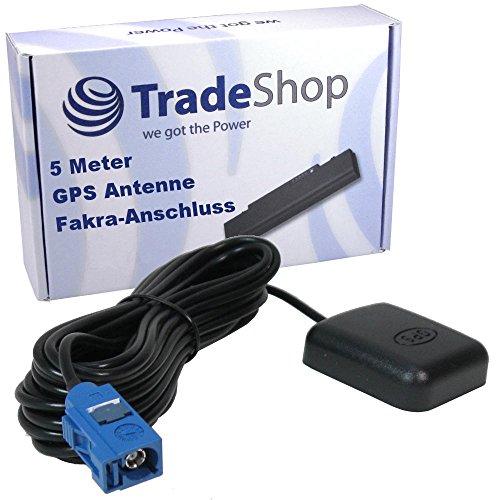 Trade-Shop Magnetische GPS-Antenne mit Fakra-Anschluss Stecker 5 Meter Kabel Adapter Magnetfuß für Audi RNS-E/Mini/BNS/MMI A3 A4 A5 A6 A8 TT Q5 R8 MFD2 MFD3