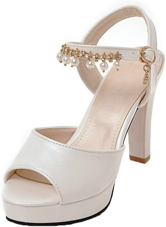 AllhqFashion Women's Open-Toe Buckle Pu Solid High-Heels Sandals, FBULD014926