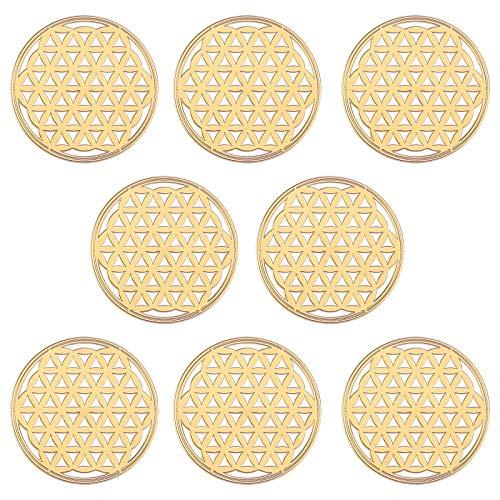OLYCRAFT 8 Pieza Pegatinas de Flor de la Vida Autoadhesivas de Latón Dorado Pegatinas Geométricas Pirámide de Orgón Pegatina de Torre de Energía Material para Álbumes de Recortes Manualidades