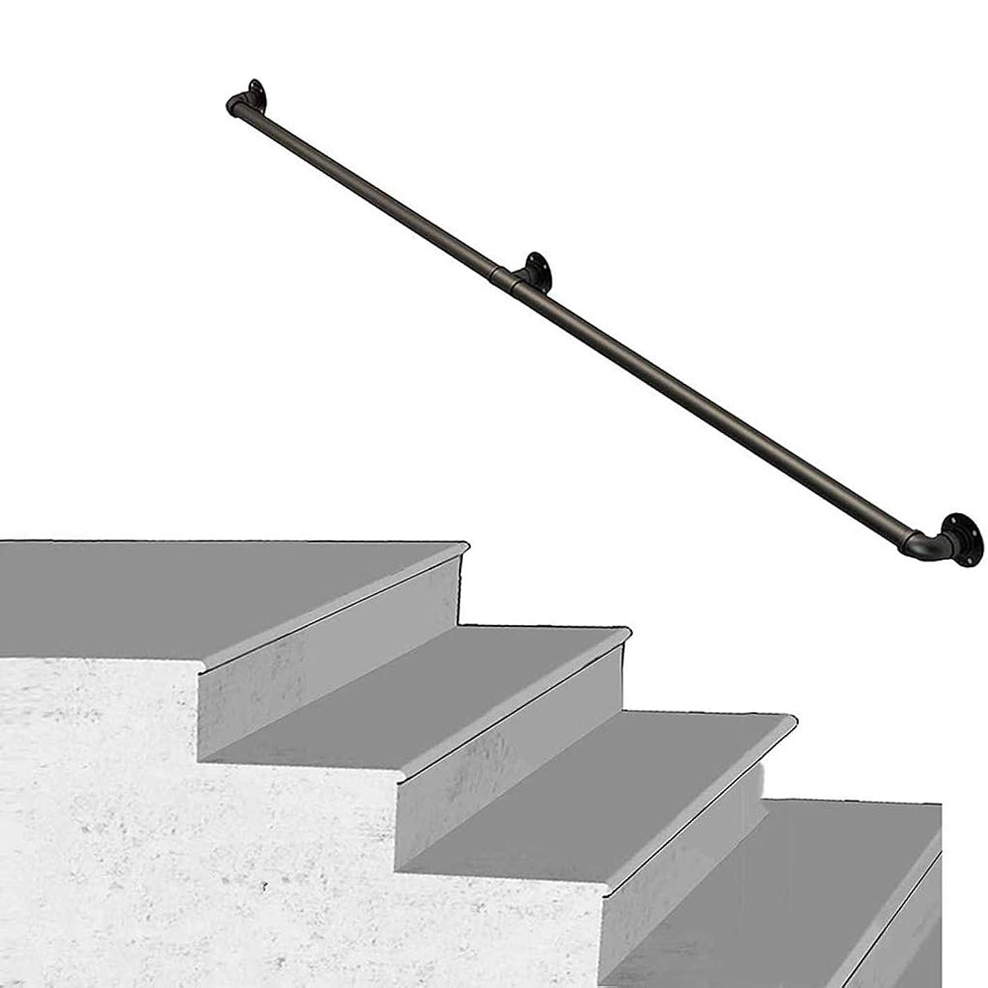 アラバマエチケット怠な階段1FT-20FT用手すり、プロフェッショナル素朴な産業錬鉄パイプ階段バニスターレールウォールサポート手すりキット、屋外屋内階段ポーチデッキハンドレール、グラブバー,12ft